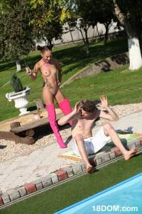 femdom sex teen scene by the pool
