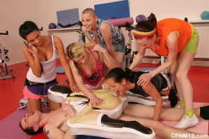 fitness trainer in a hot cfnm sex action